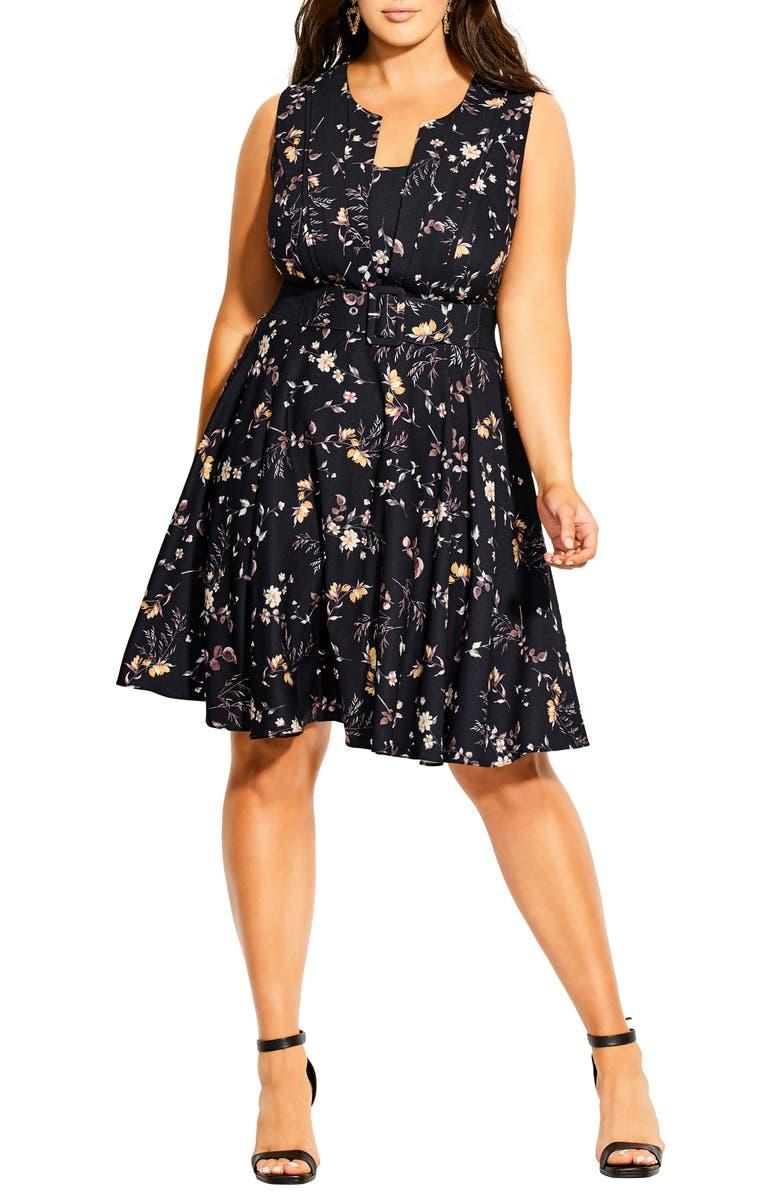 CITY CHIC Mini Vine Belted Dress, Main, color, 001