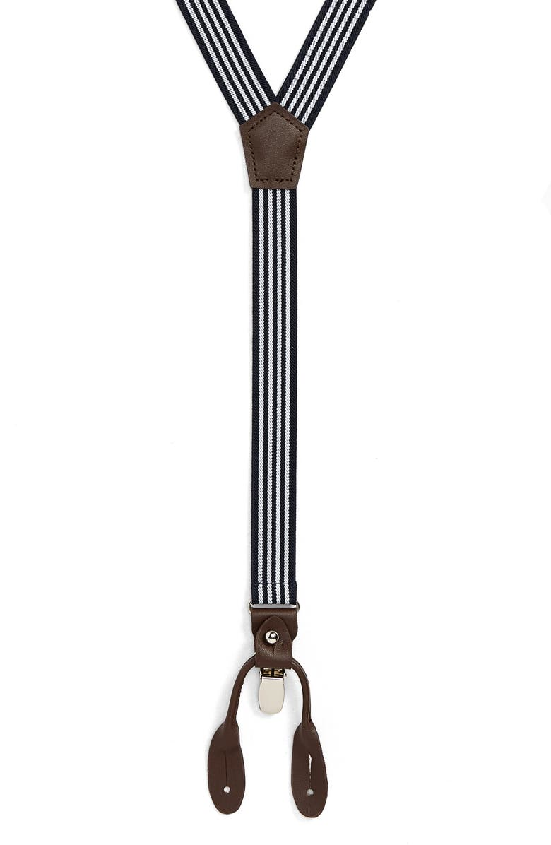 NORDSTROM MEN'S SHOP Brooks Stripe Suspenders, Main, color, NAVY/ WHITE