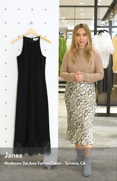 Crop Wide Leg Lace Hem Jumpsuit, sales video thumbnail