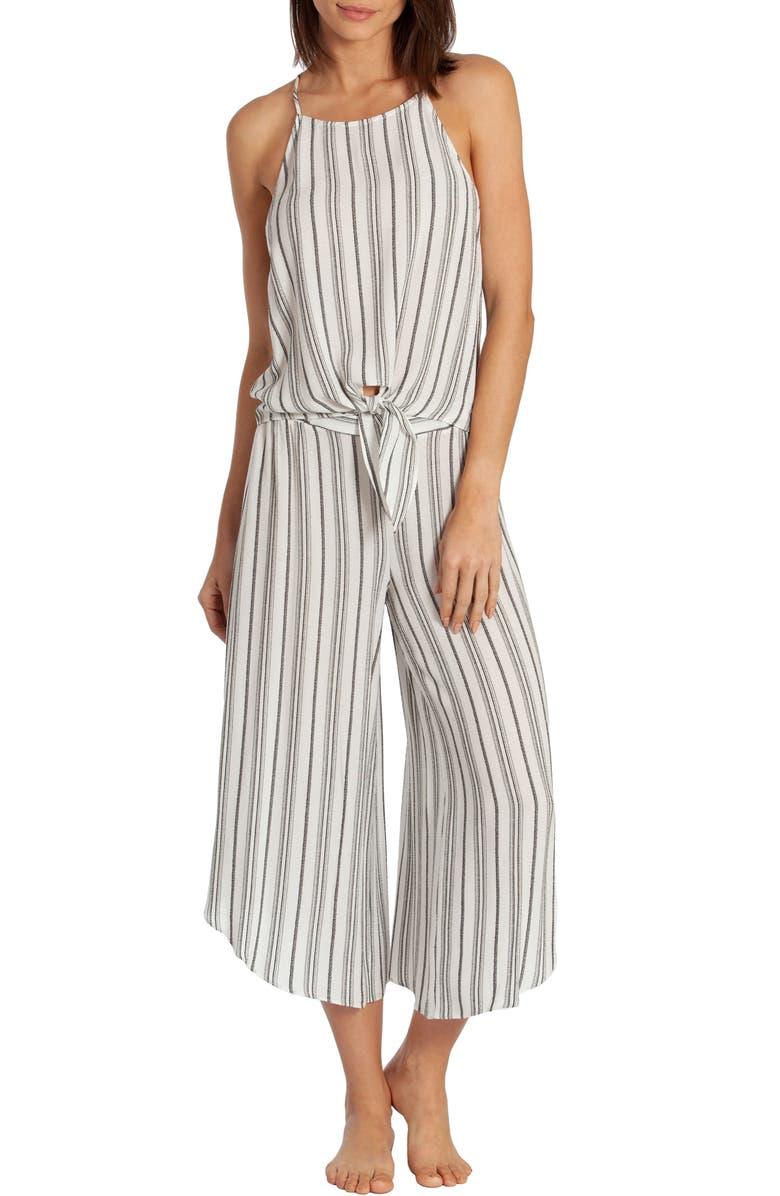 MIDNIGHT BAKERY Jade Stripe Crop Pajamas, Main, color, 100