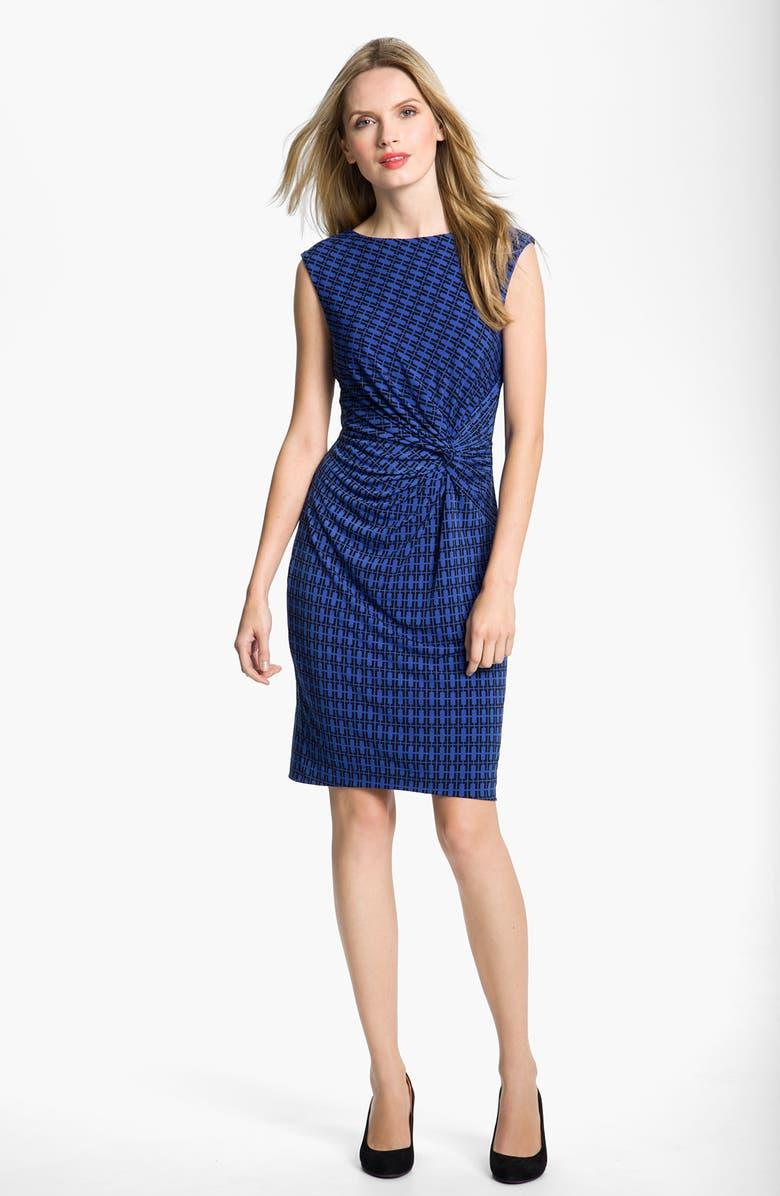 CHAUS Twist Knot Print Dress, Main, color, 400