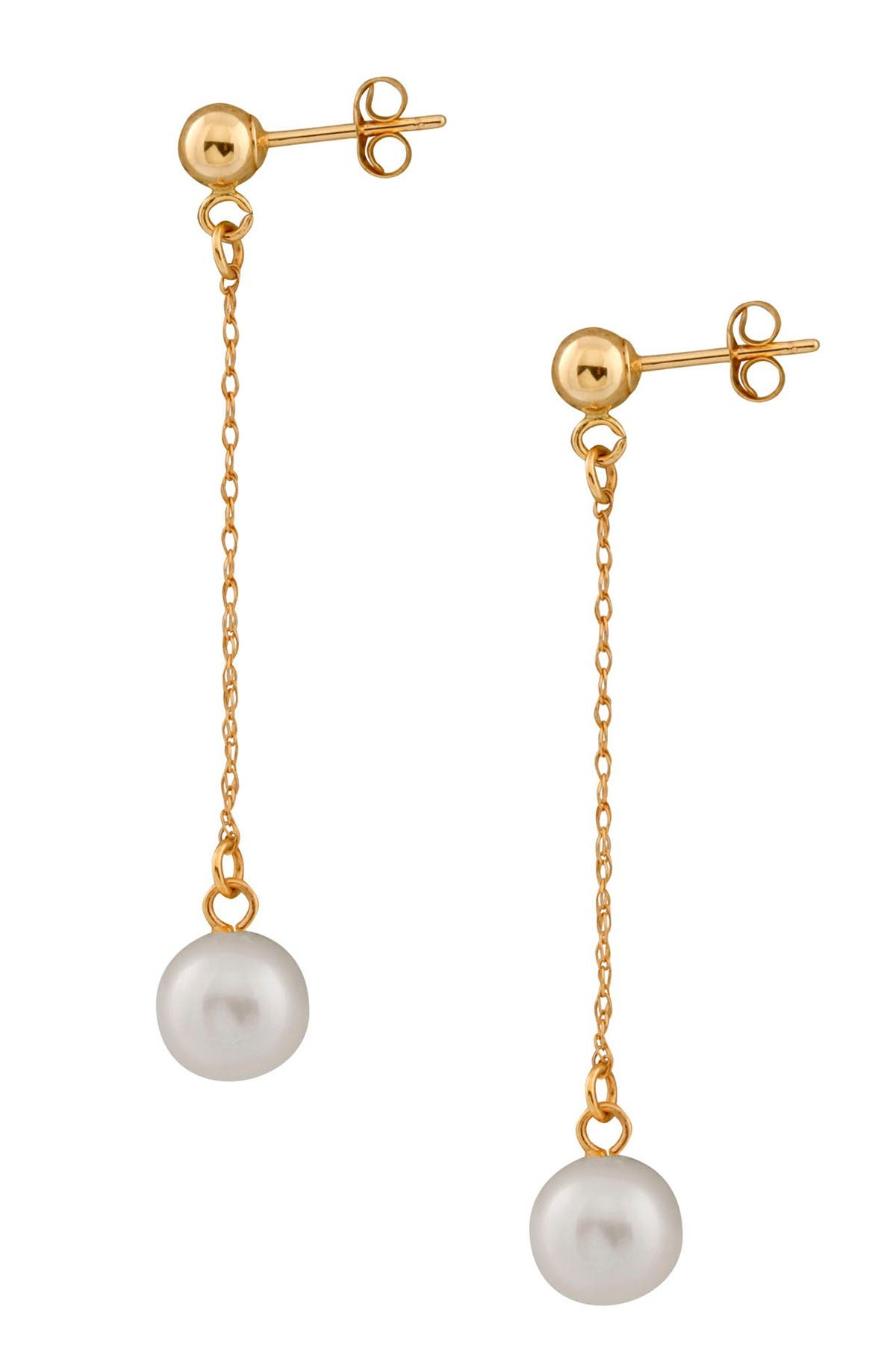 Image of Splendid Pearls 14K Yellow Gold 7-7.5mm Freshwater Pearl Dangling Earrings