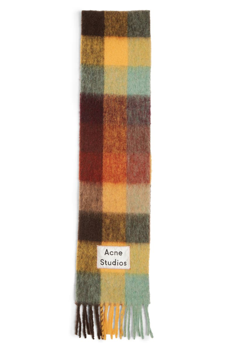 ACNE STUDIOS Vally Plaid Alpaca, Wool & Mohair Blend Scarf, Main, color, 200