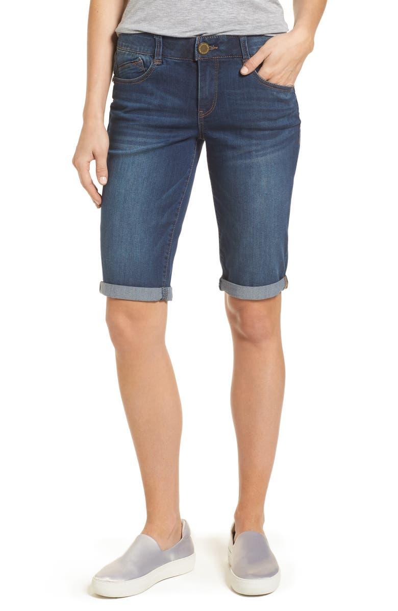 WIT & WISDOM Ab-solution Cuffed Denim Shorts, Main, color, 420