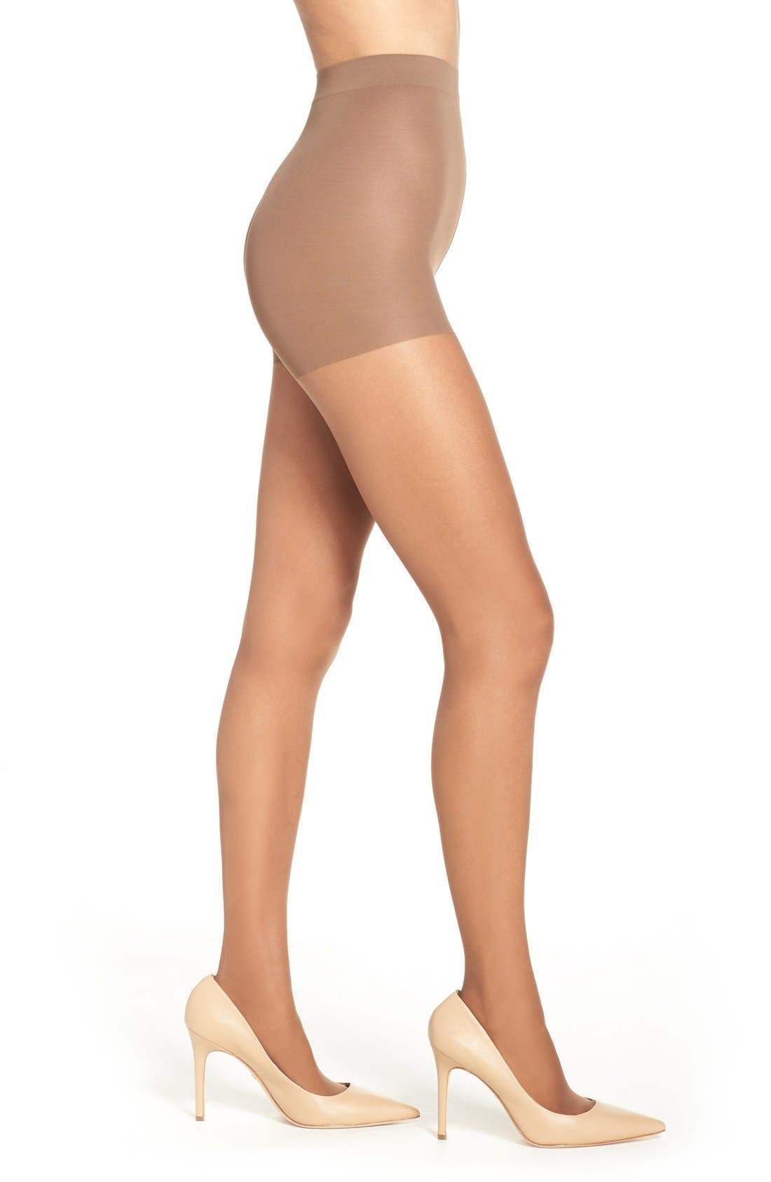 Control top panties lightly shape your waist, hips and rear in these sheer 20 denier pantyhose that give your legs a smooth, airbrushed look. Sheer toes make this style work with a variety of footwear choices, while the improved panty top has an enhanced run guard. Style Name: Nordstrom Control Top Pantyhose. Style Number: 5104944 1. Available in stores.