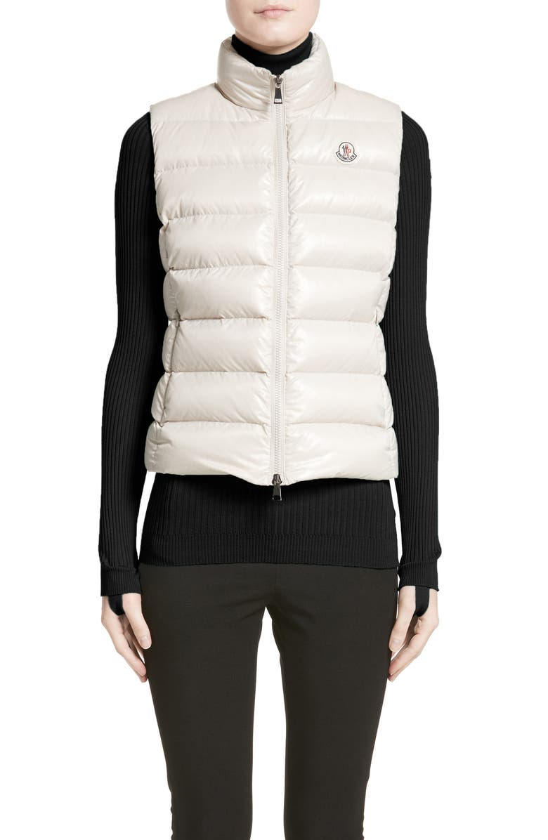MONCLER Ghany Water Resistant Shiny Nylon Down Puffer Vest, Main, color, BEIGE