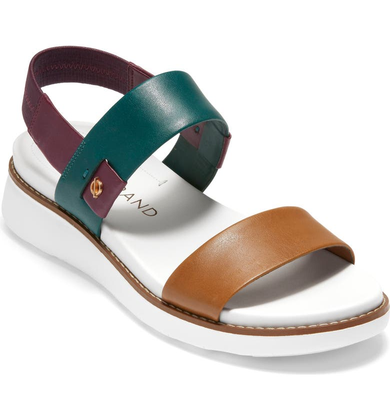 COLE HAAN ZeroGrand Double Band Sandal, Main, color, BRITISH TAN MULTI LEATHER