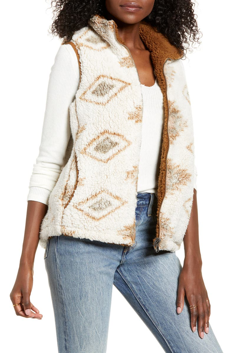 THREAD & SUPPLY Short Story Reversible Teddy Vest, Main, color, MOJAVE - TAWNY