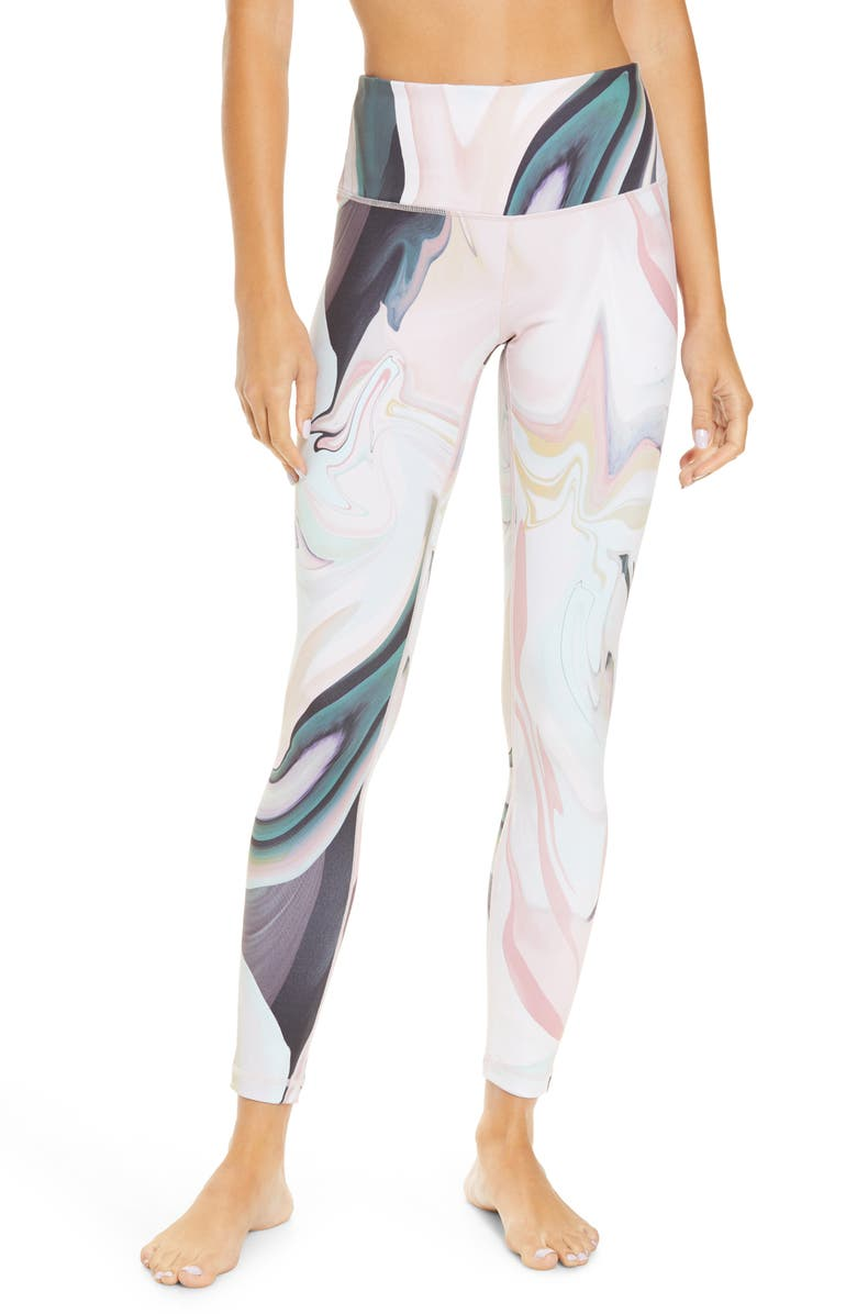 ZELLA Live In High Waist Ankle Performance Leggings, Main, color, GREEN MOUNTAIN MAGGIE MARBLE