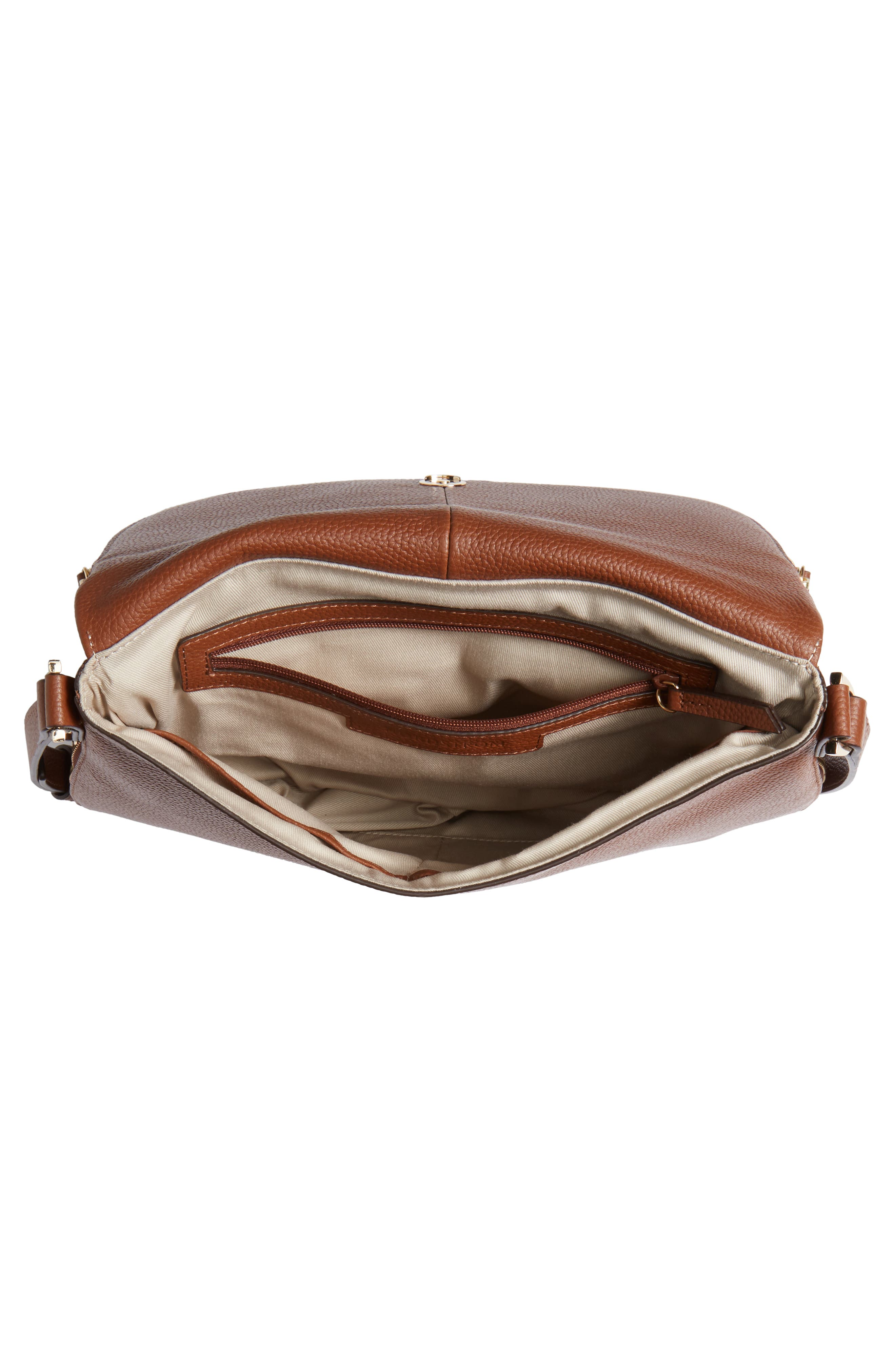 ,                             Kara Leather Expandable Crossbody Bag,                             Alternate thumbnail 5, color,                             BROWN AZTEC