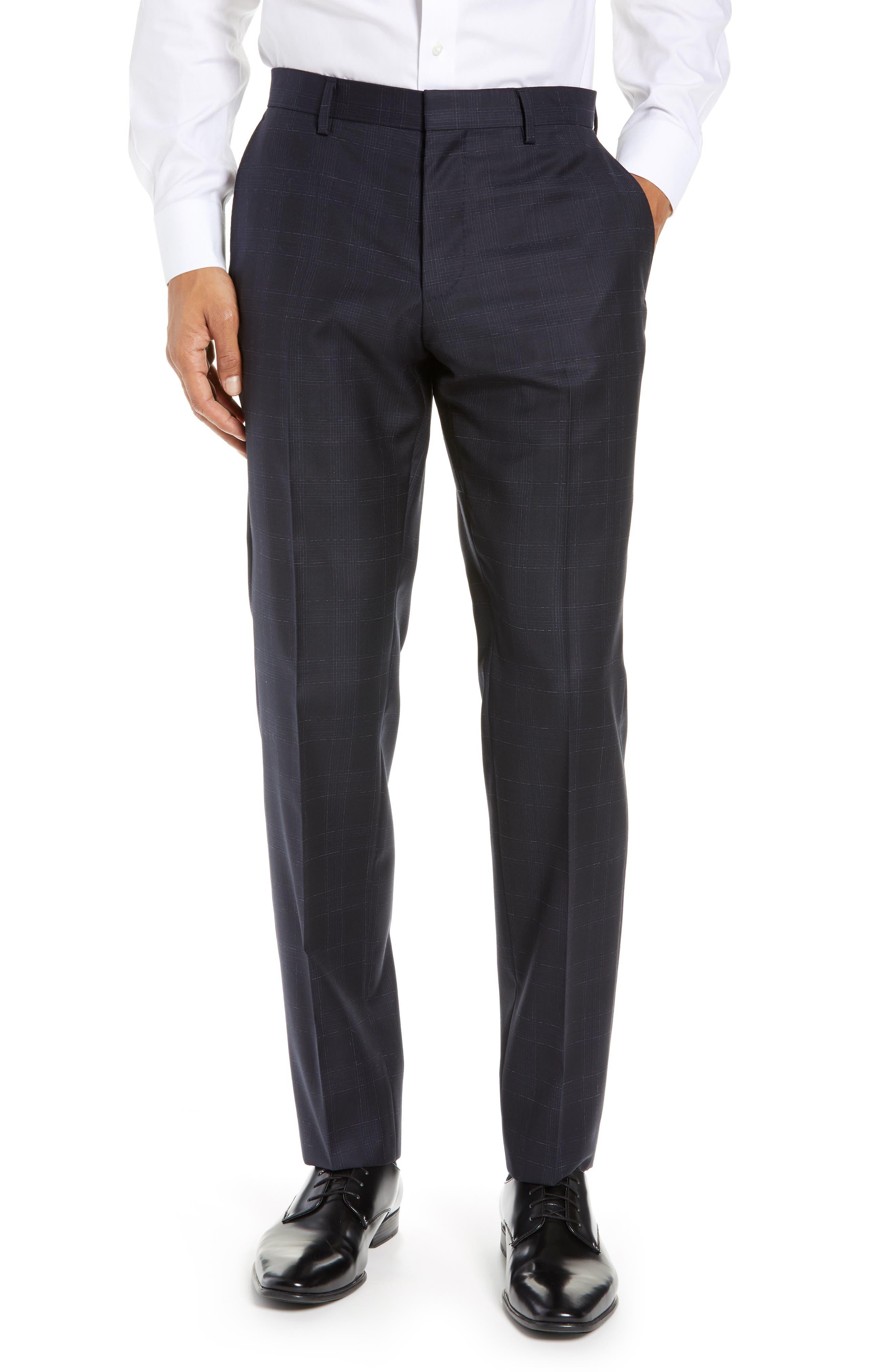 ,                             Genesis Flat Front Plaid Wool Trousers,                             Main thumbnail 7, color,                             411
