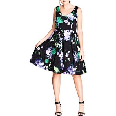 Plus Size City Chic Cinematic Floral Fit & Flare Dress, Black