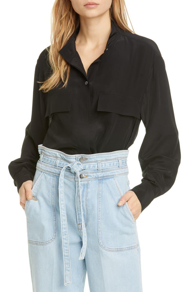 FRAME Safari Silk Shirt, Main, color, 001