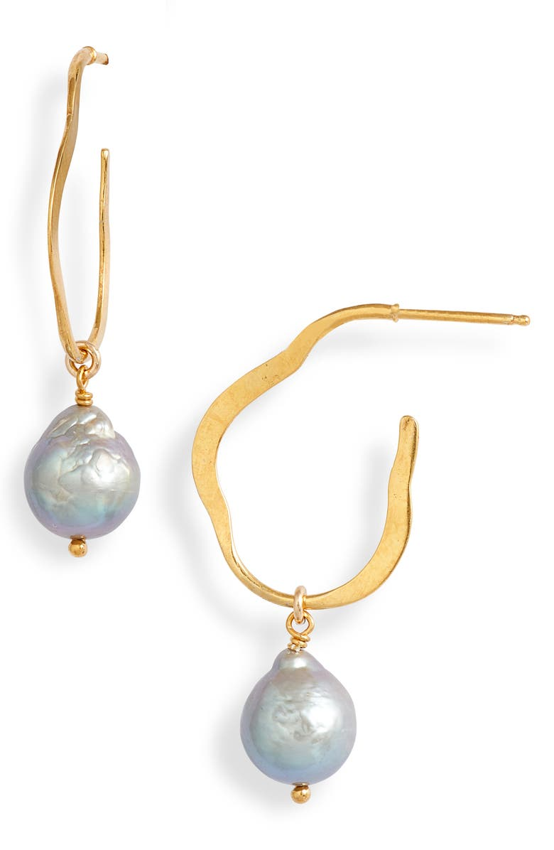 CHAN LUU Hammered Hoop Pearl Drop Earrings, Main, color, GREY PEARL