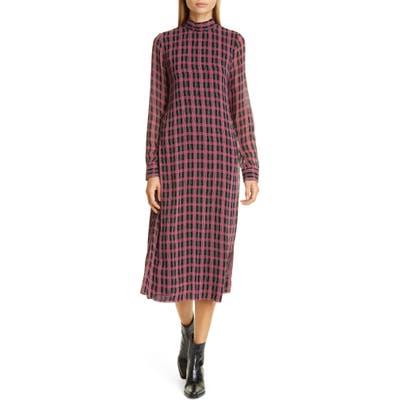 Ganni Print Long Sleeve Midi Dress, Red