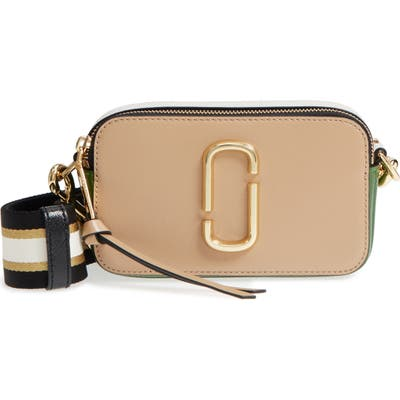 The Marc Jacobs The Snapshot Leather Crossbody Bag - Beige