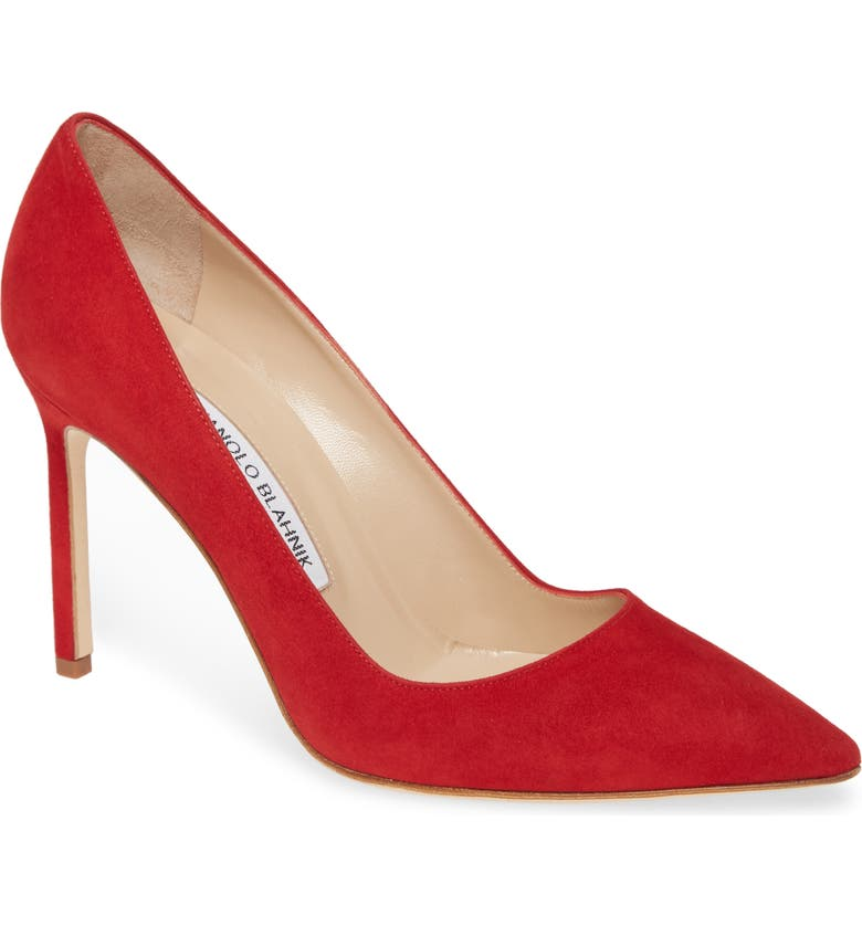 MANOLO BLAHNIK 'BB' Pointy Toe Pump, Main, color, RED