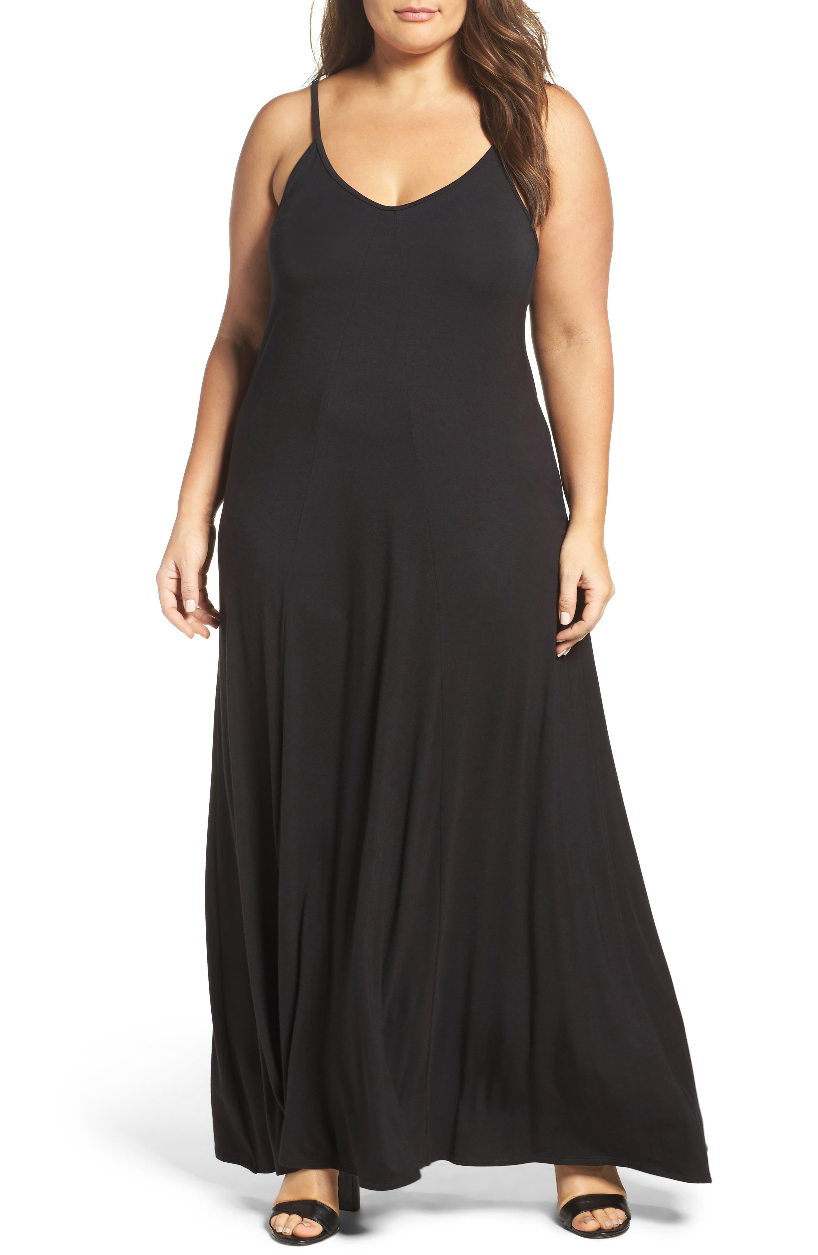 Plus Size Loveappella A-Line Maxi Dress, Black