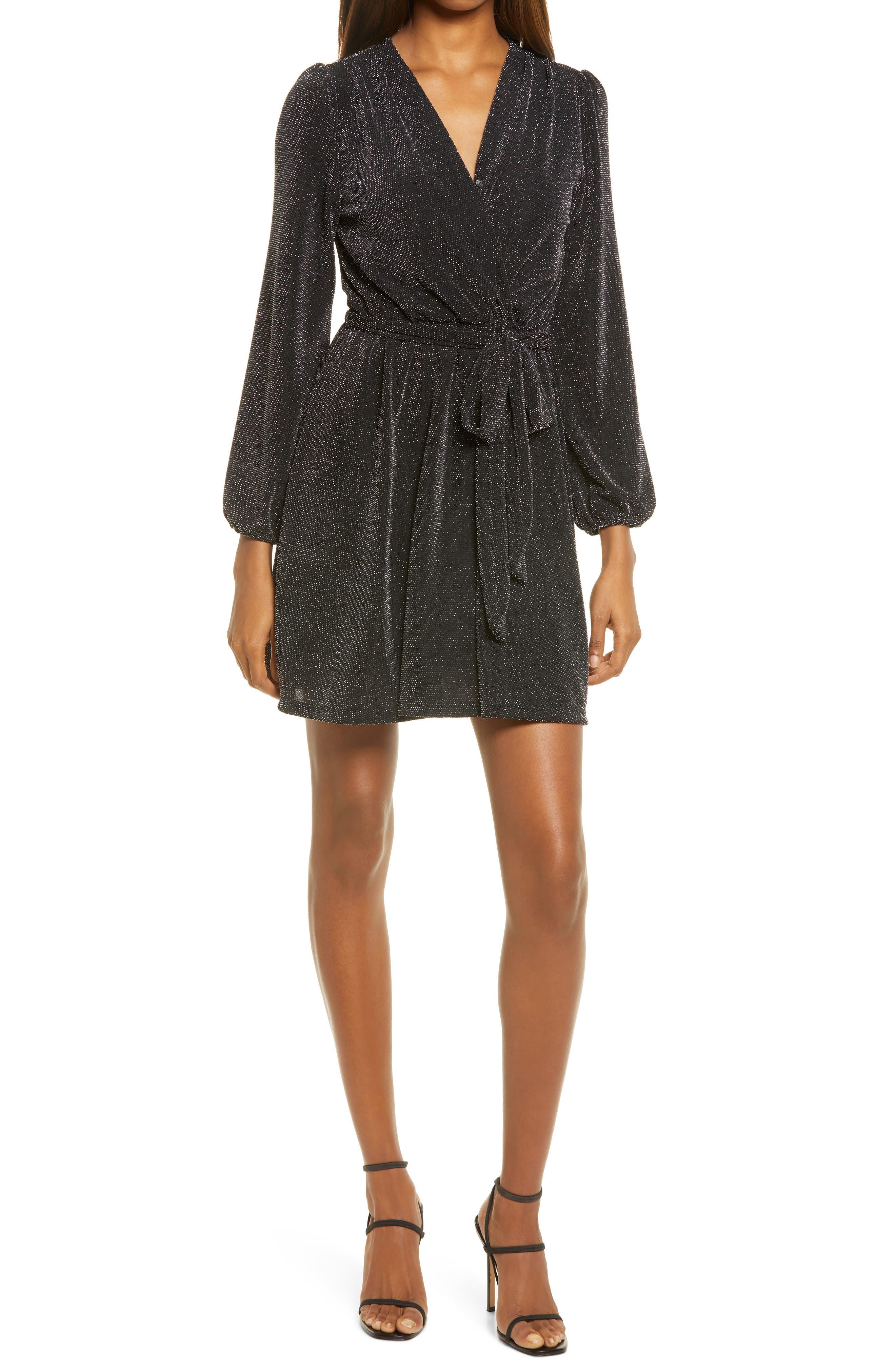 Glitter Wrap Front Long Sleeve Minidress