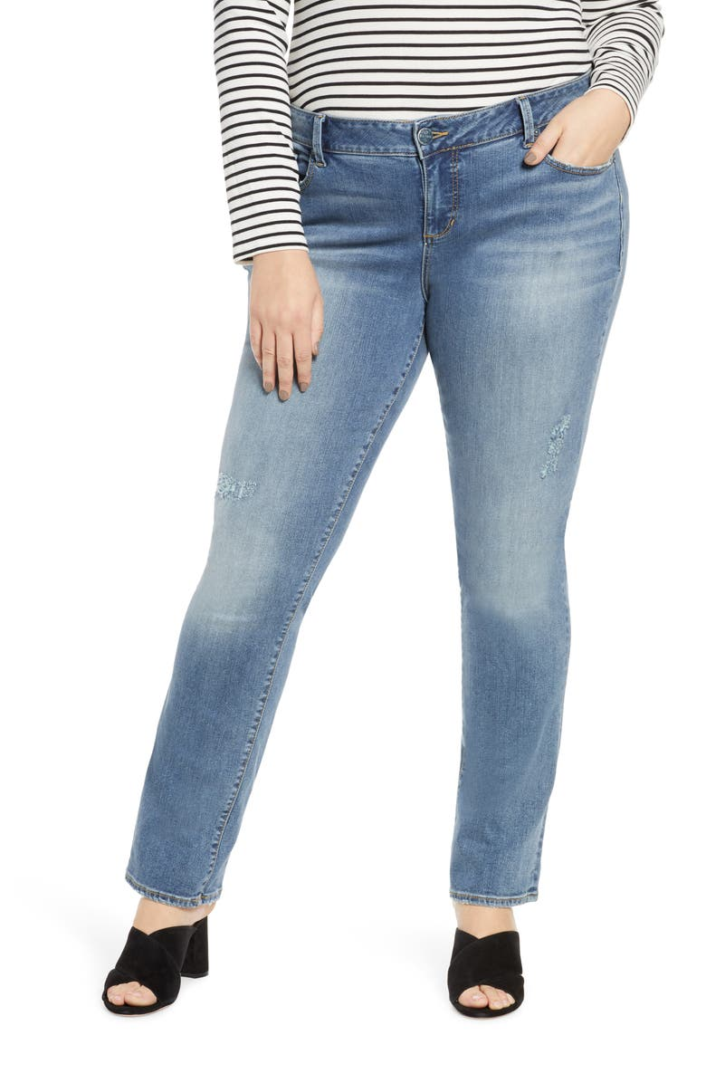 SLINK JEANS Distressed Straight Leg Jeans, Main, color, LOLA