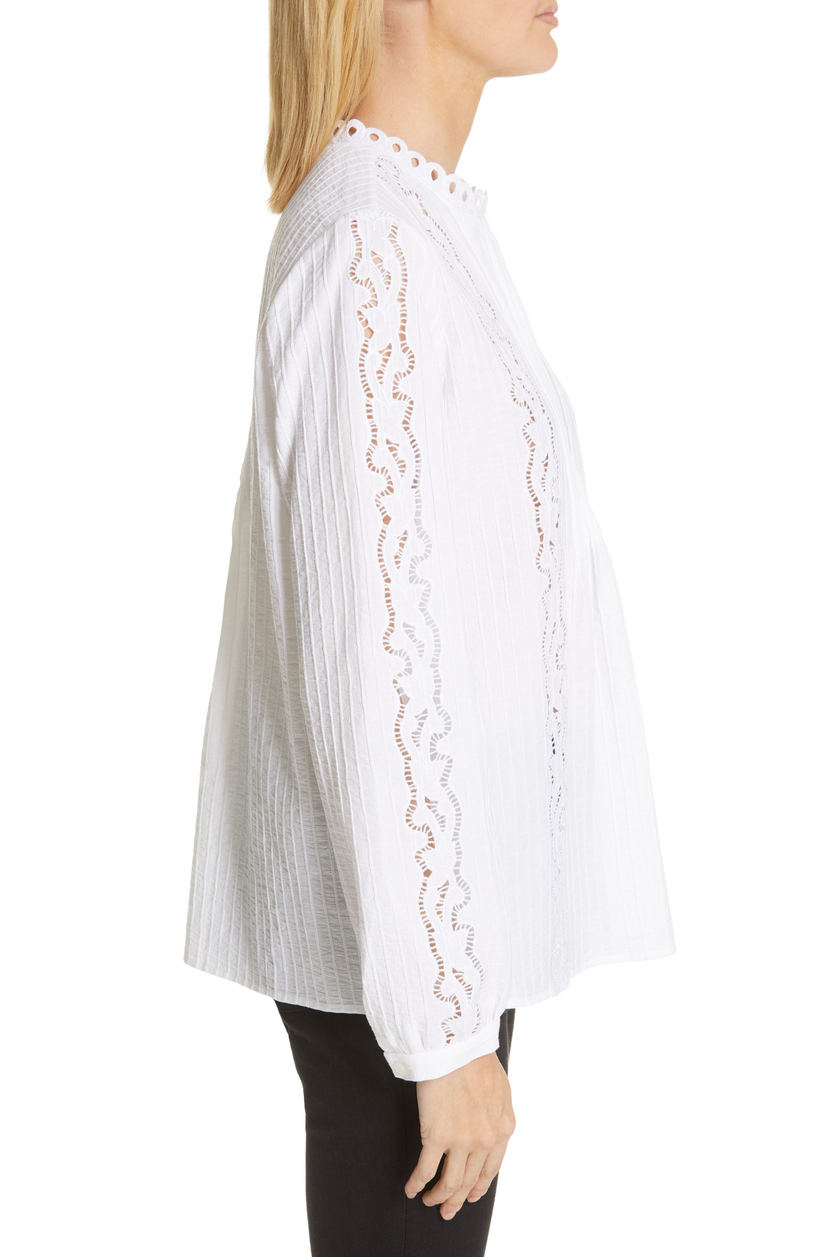 ,                             Embroidered Pleated Blouse,                             Alternate thumbnail 3, color,                             WHITE