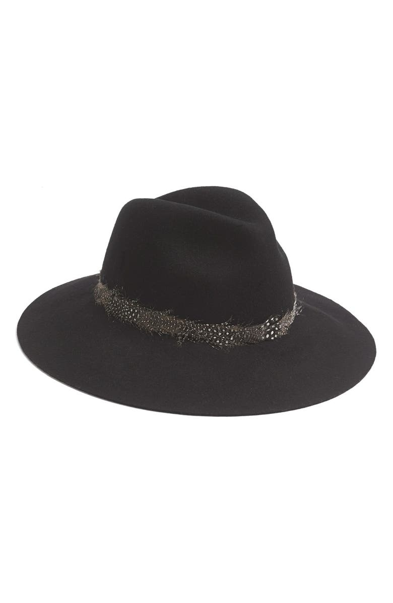 AUGUST HAT Feather Trim Floppy Felt Fedora, Main, color, 001