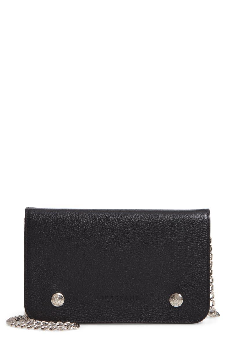 LONGCHAMP Le Foulonné Leather Wallet on a Chain, Main, color, 001