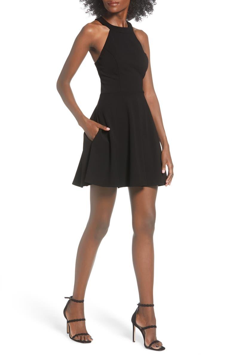 SPEECHLESS Bow Back Scuba Crepe Fit & Flare Dress, Main, color, BLACK