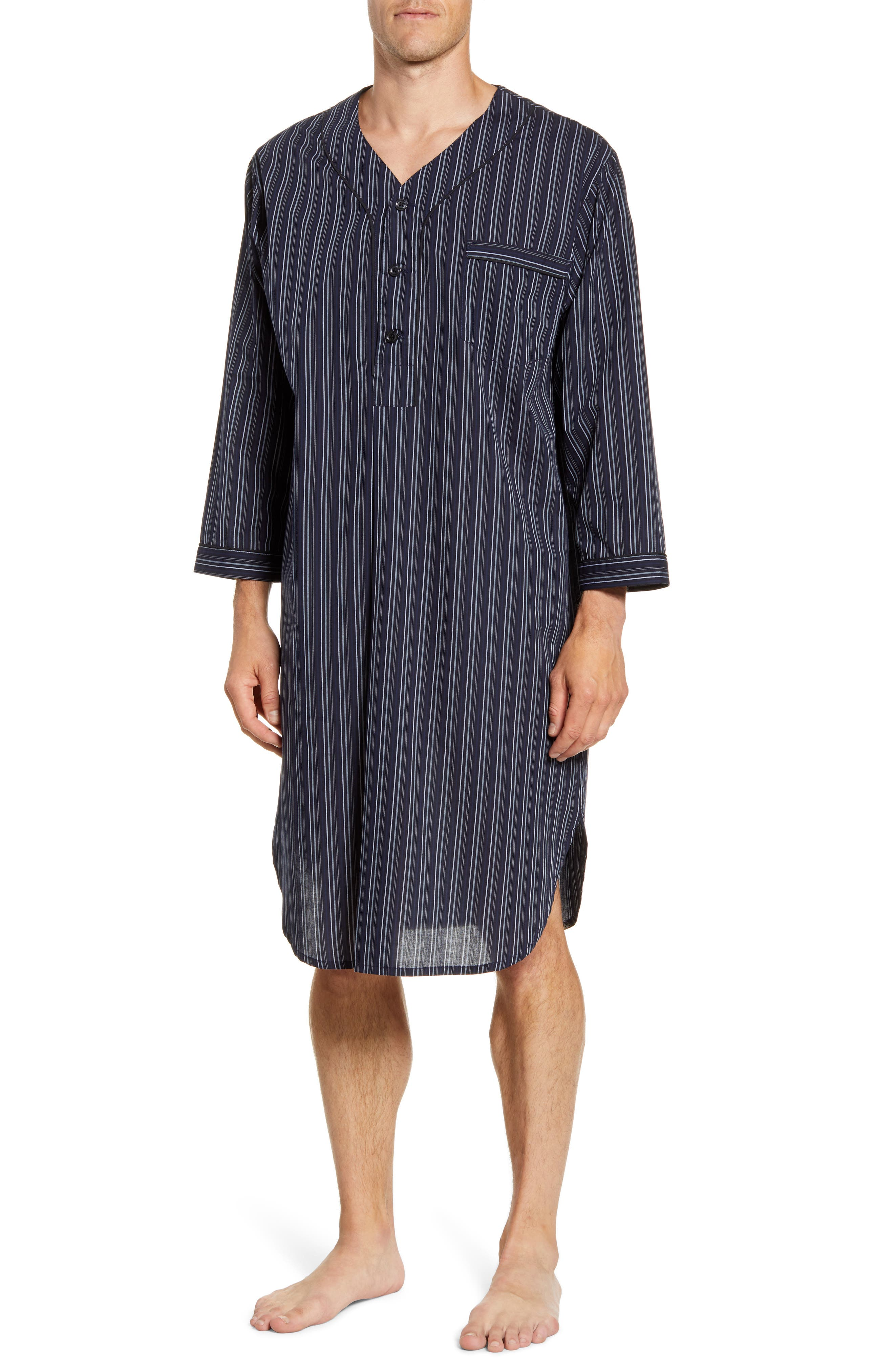 1940s Men's Underwear: Briefs, Boxers, Unions, & Socks Mens Big  Tall Majestic International Bar Blues Cotton Blend Nightshirt $65.00 AT vintagedancer.com