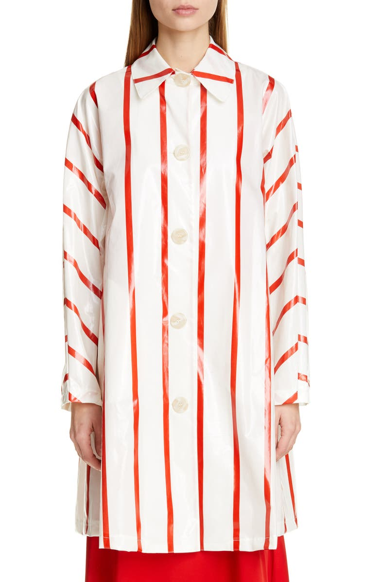 MANSUR GAVRIEL Laminated Check Coat, Main, color, 100