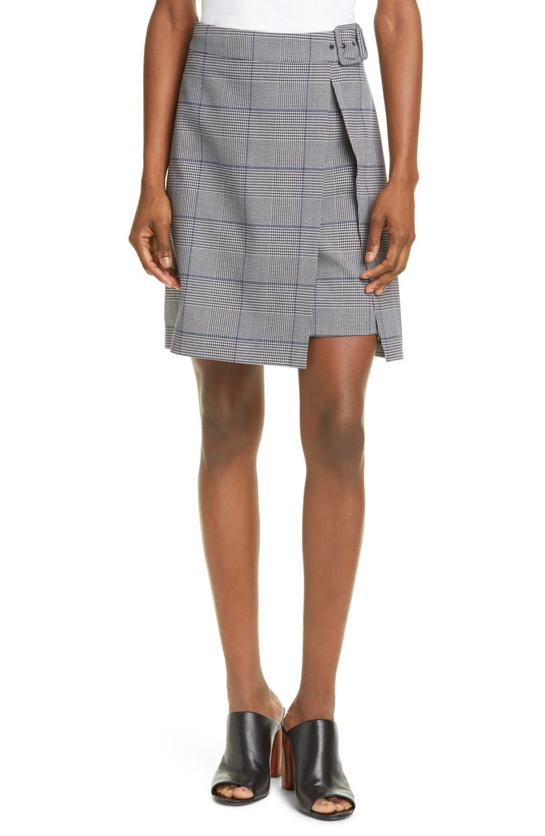 CLUB MONACO Faux Wrap Miniskirt, Main, color, GREY MULTI