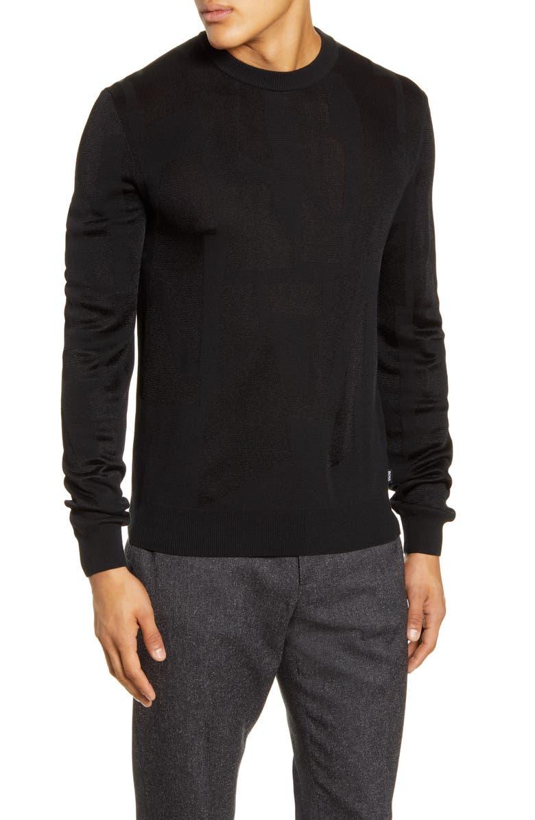 BOSS Garriso Slim Fit Jacquard Sweater, Main, color, 001
