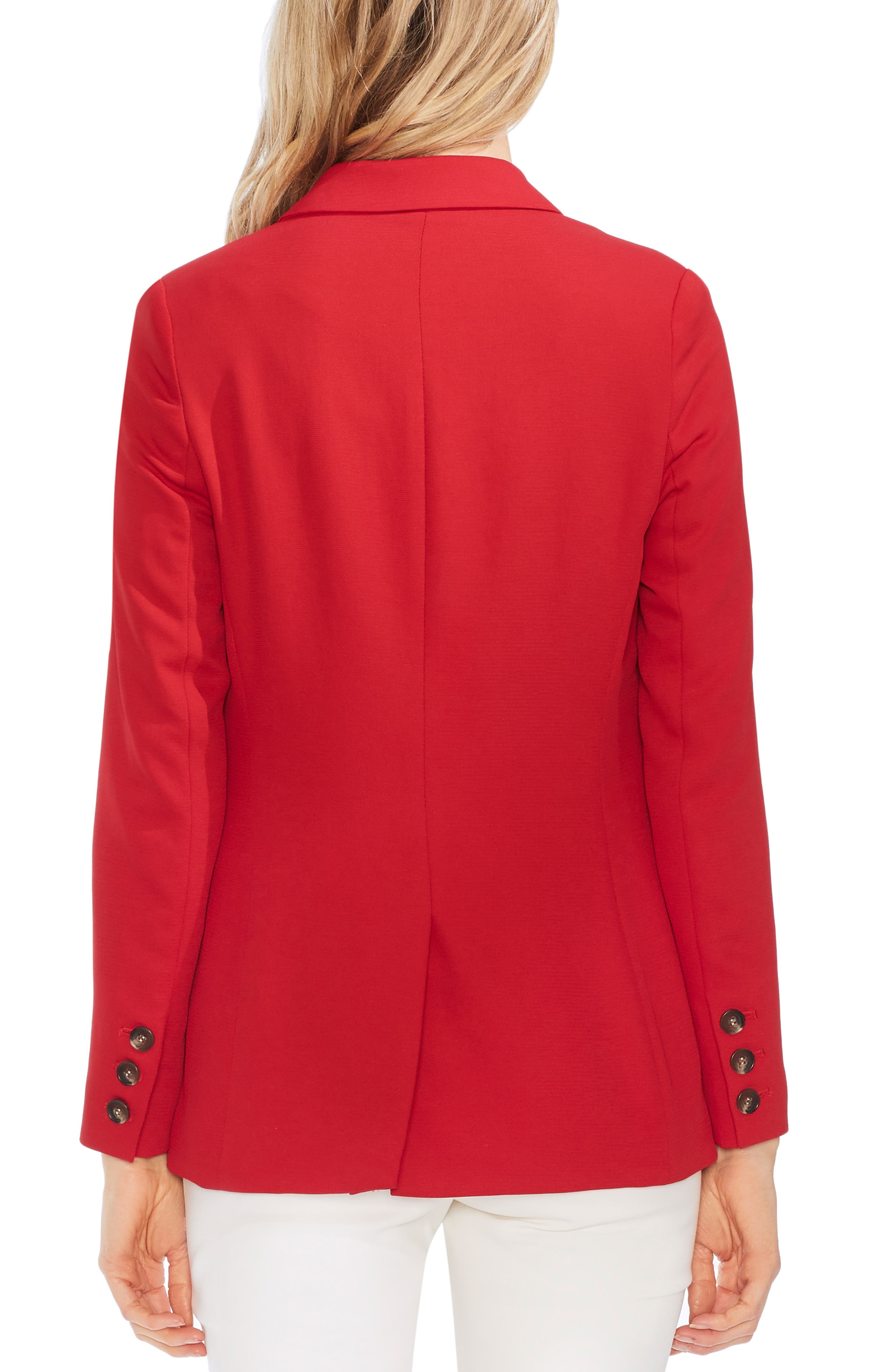 ,                             Peak Collar Single Button Piqué Blazer,                             Alternate thumbnail 2, color,                             CORAL SUNSET