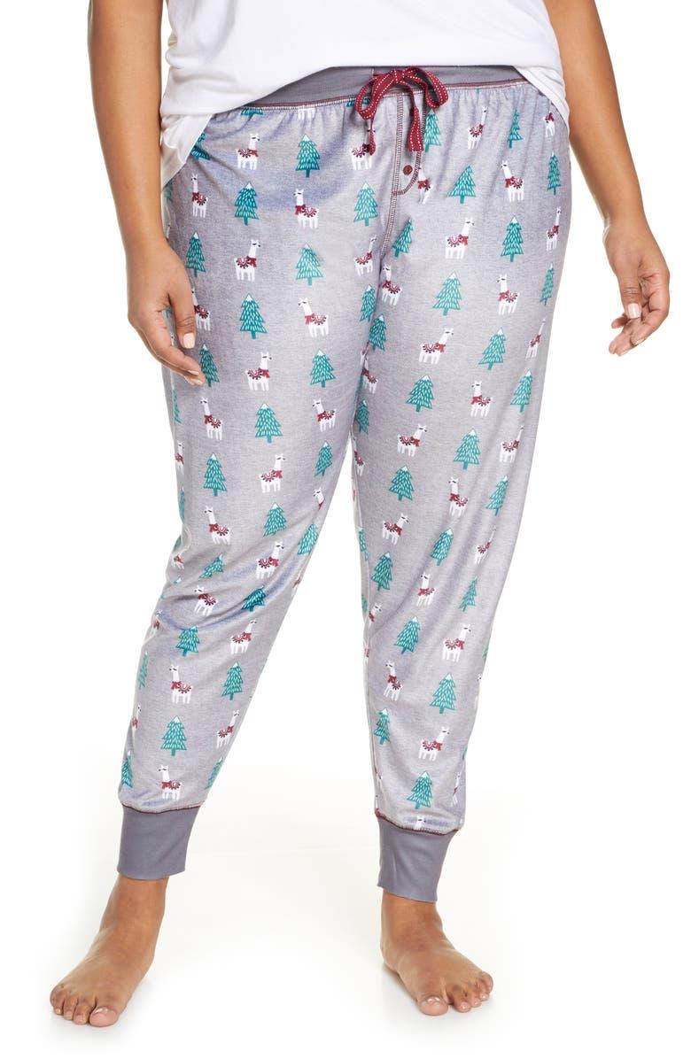 PJ SALVAGE Oh My Velour Pajama Pants, Main, color, HEATHER GREY