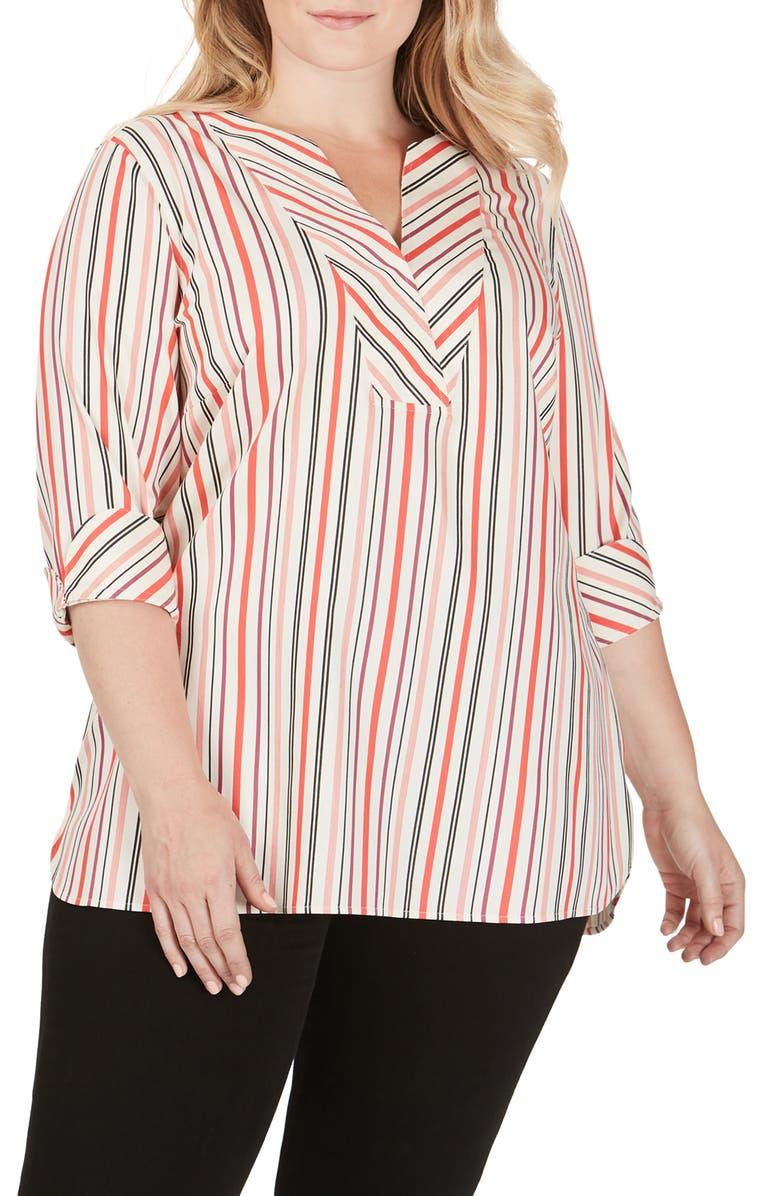 FOXCROFT Vaughn Desert Stripe Stretch Cotton Blouse, Main, color, MULTI