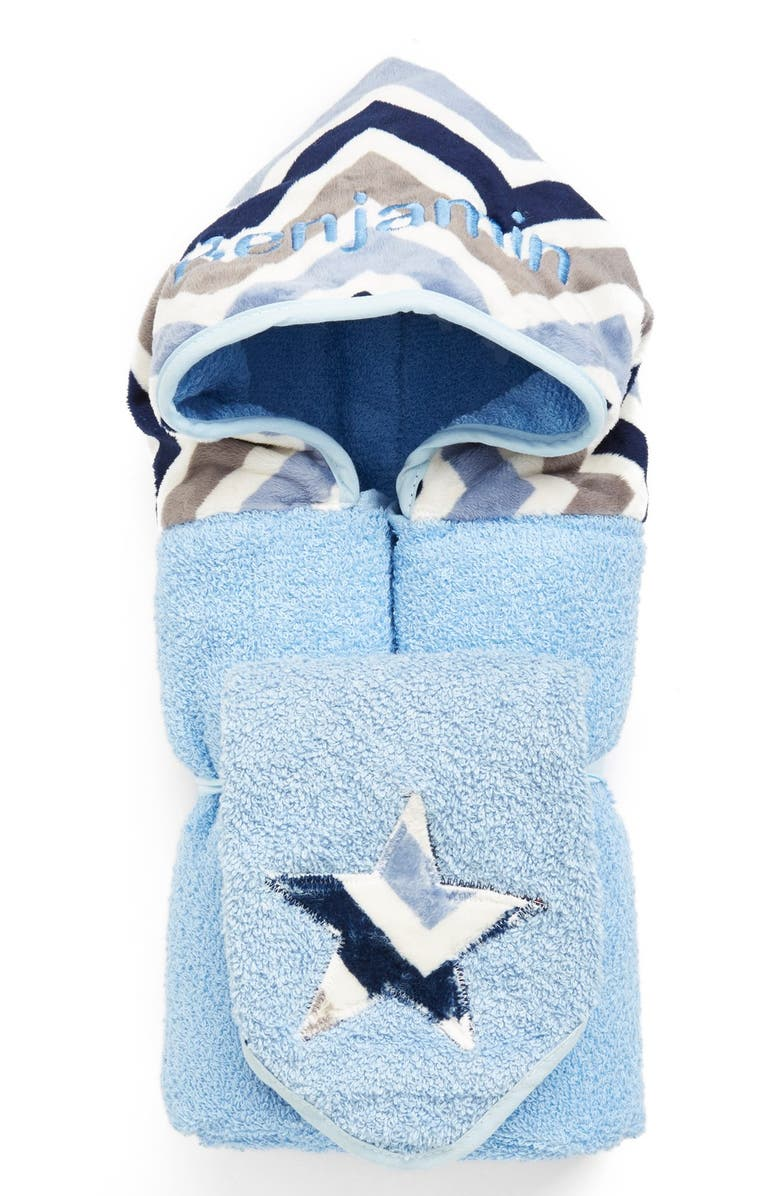 BIBZ N THINGZ Personalized Hooded Towel, Main, color, BLUE CHEVRON
