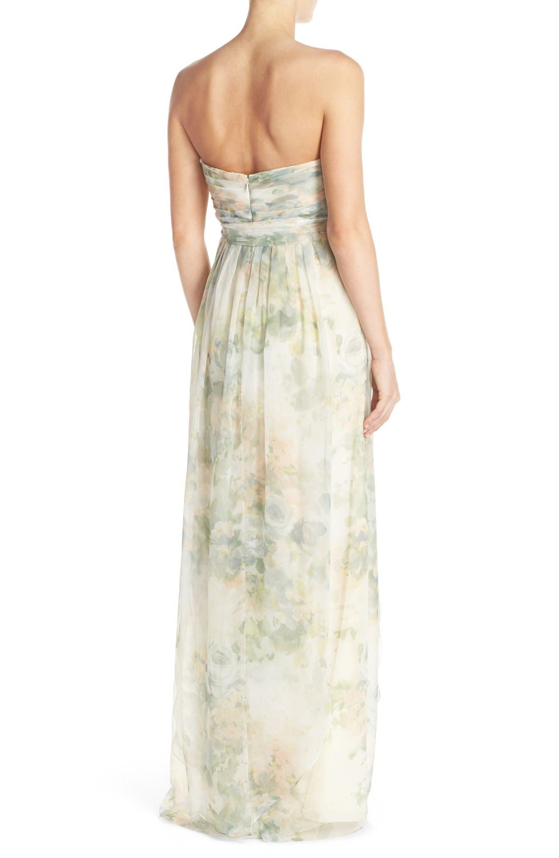 ,                             Nyla Floral Print Convertible Strapless Chiffon Gown,                             Alternate thumbnail 14, color,                             110