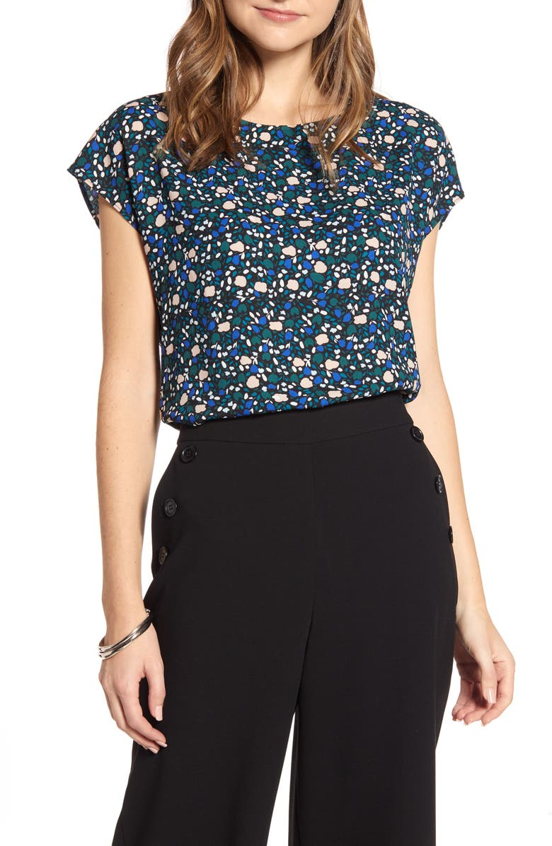 HALOGEN<SUP>®</SUP> Cap Sleeve Blouse, Main, color, BLACK- PINK S MALORY FLRL