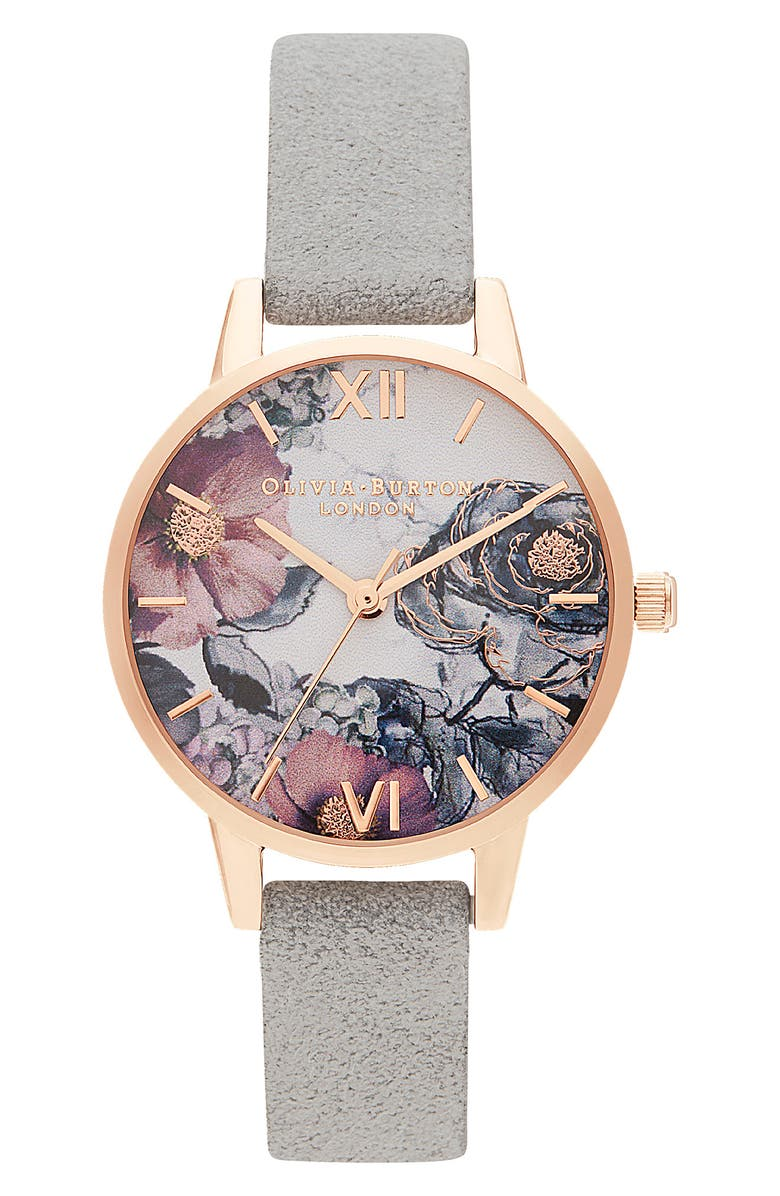 OLIVIA BURTON Floral Recycled Strap Watch, 30mm, Main, color, GREY/ WHITE/ FLORAL/ ROSE GOLD