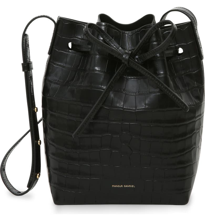 MANSUR GAVRIEL Mini Croc Embossed Leather Bucket Bag, Main, color, BLACK