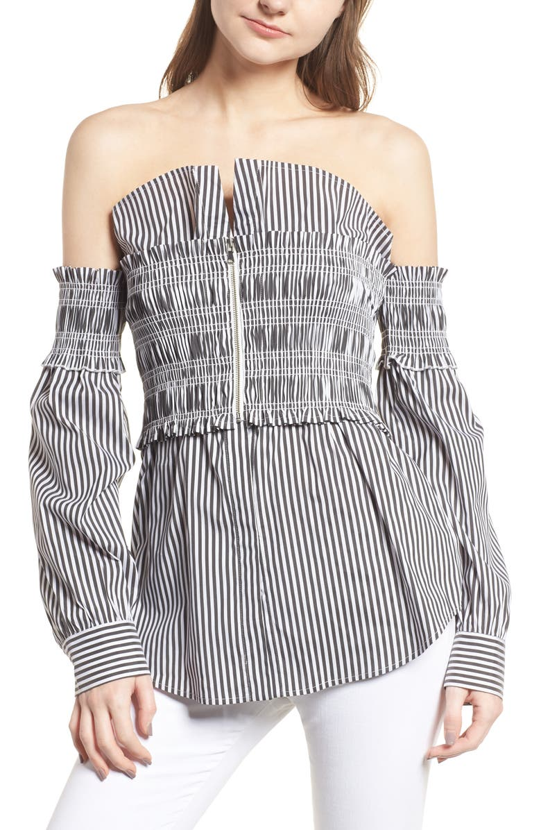 TROUVÉ Stripe Smocked Corset Shirt, Main, color, 001