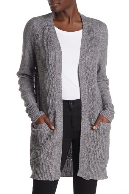 Image of Modern Designer Marled Open Front Elbow Patch Cardigan