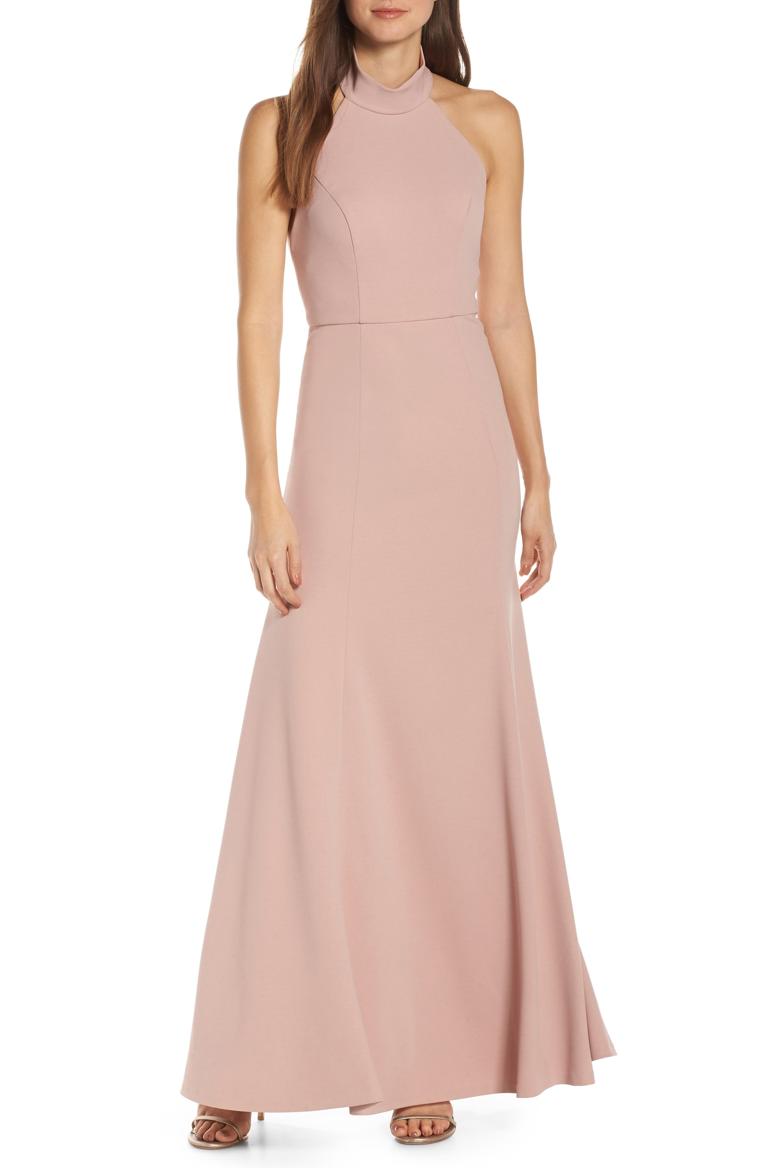 Jenny Yoo Petra Halter Crepe Evening Dress, Red