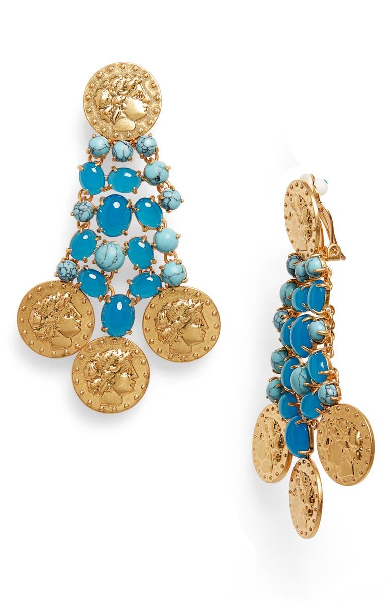 TORY BURCH Coin Drop Earrings, Main, color, 440