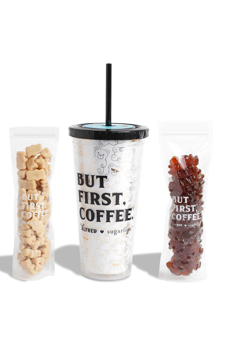 SUGARFINA x Alfred's But First, Coffee Insulated Tumbler & Caffeinated Gummy Bears Set, Main, color, 100