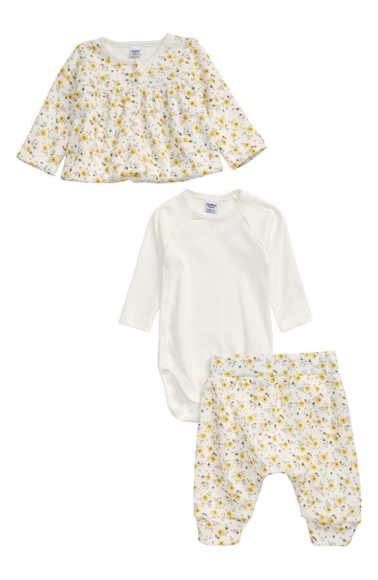 PETIT BATEAU Floral Cardigan, Long Sleeve Bodysuit & Pants Set, Main, color, CREAM/ MULTI