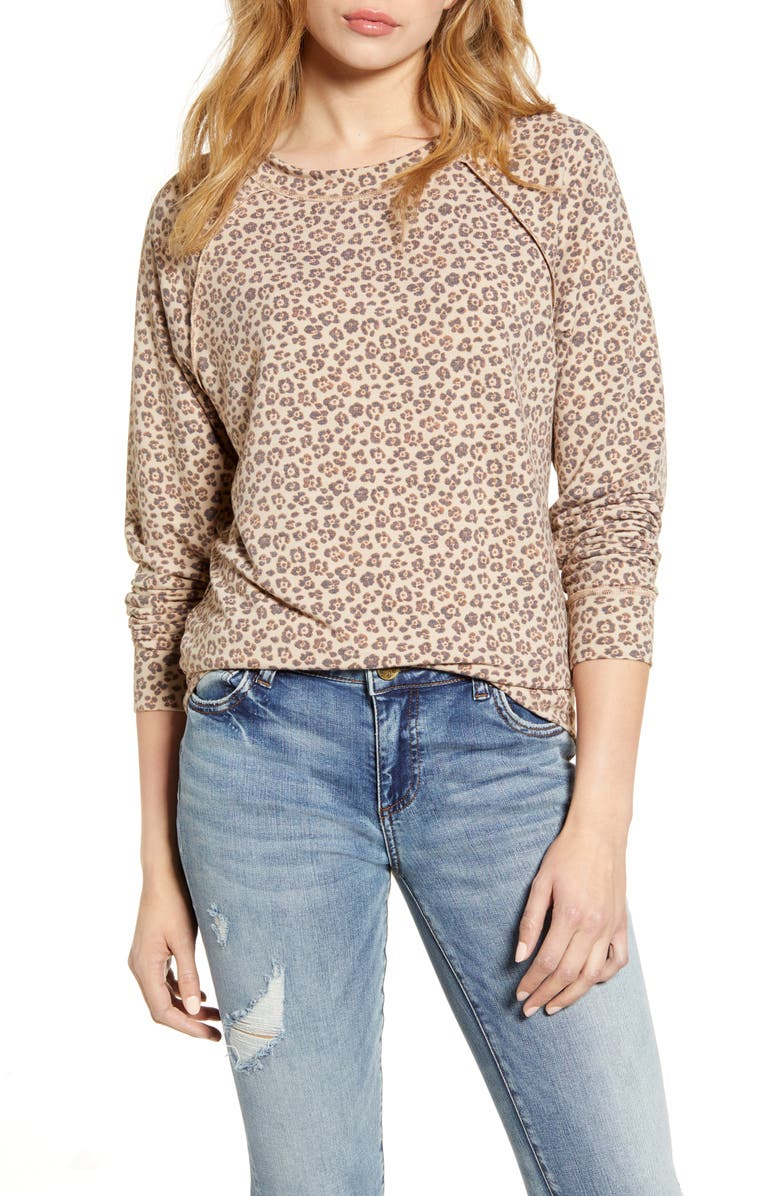 CASLON<SUP>®</SUP> Cozy Print Sweatshirt, Main, color, 235