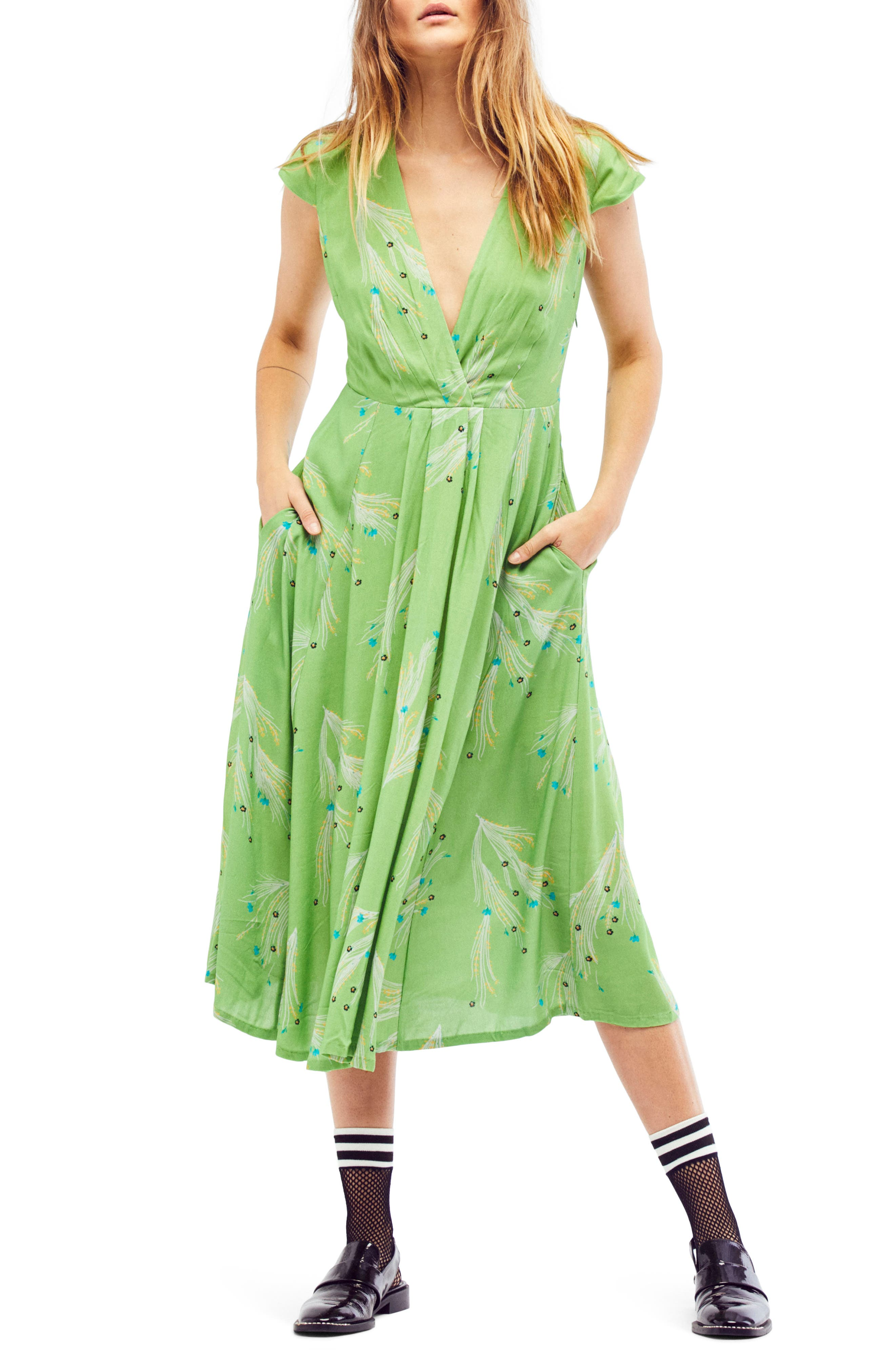 ,                             Print Retro Midi Dress,                             Alternate thumbnail 5, color,                             300