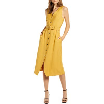 Something Navy Sleeveless Button-Up Midi Dress, Yellow (Nordstrom Exclusive)