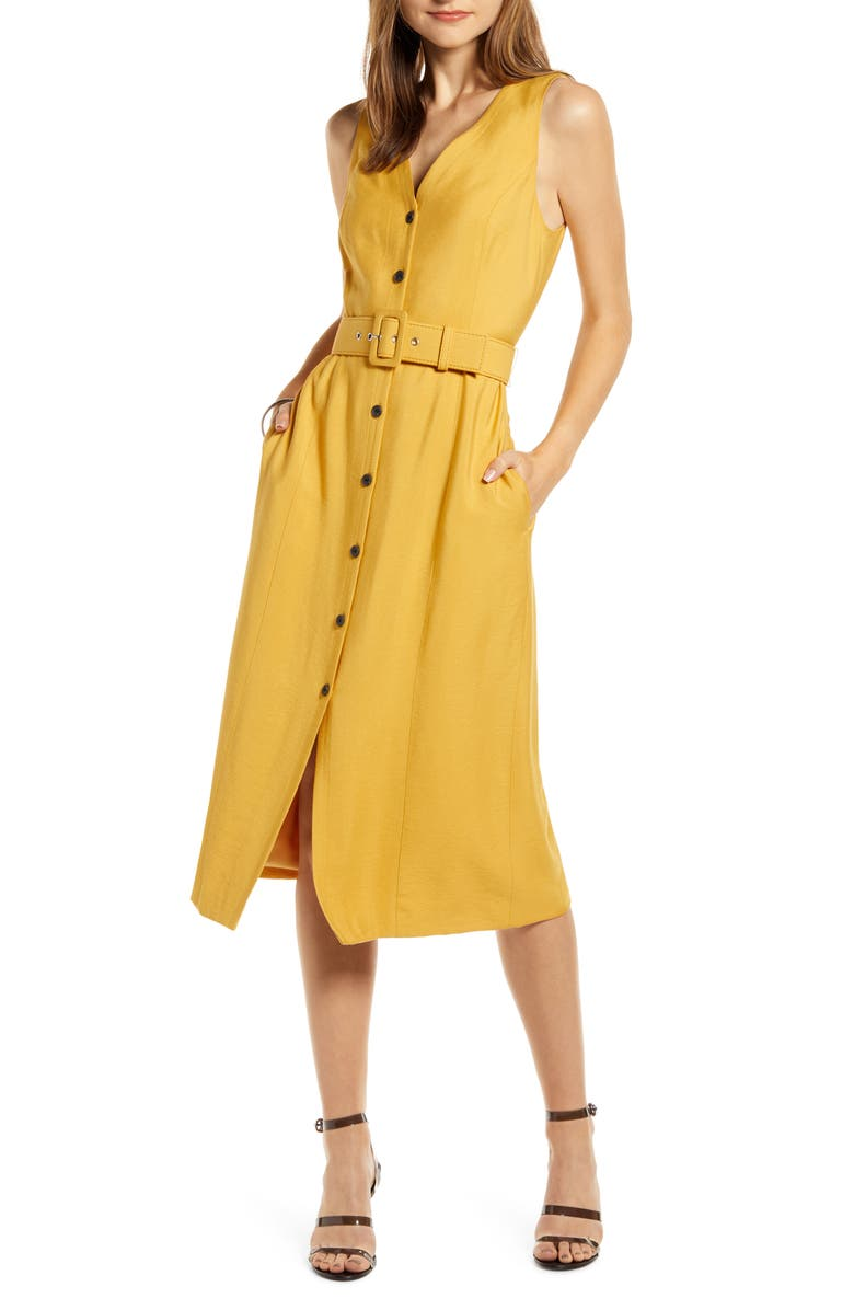 SOMETHING NAVY Sleeveless Button-Up Midi Dress, Main, color, YELLOW MINERAL
